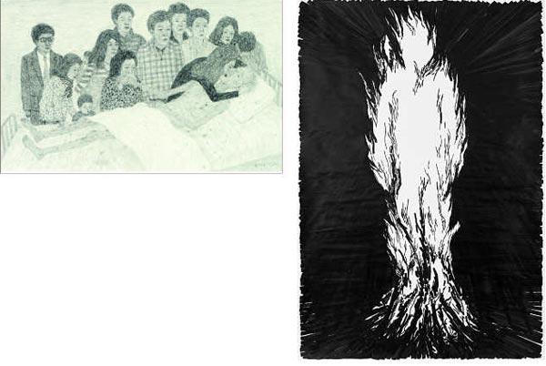 드로잉의 풋풋한 매력을 보여주는 문성식의 '작별'(사진 위)과 혁오밴드 뮤직비디오에서 애니메이션으로 제작된 박광수의 '불사람'(오른쪽).