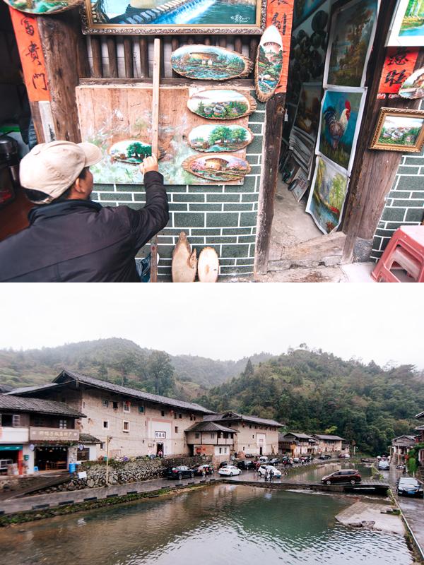 토루에서 그림을 판매하는 모습(상), 탑하촌의 모습 (하)