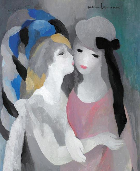 마리 로랑생의 1927년 유화'키스(Le Baiser)'