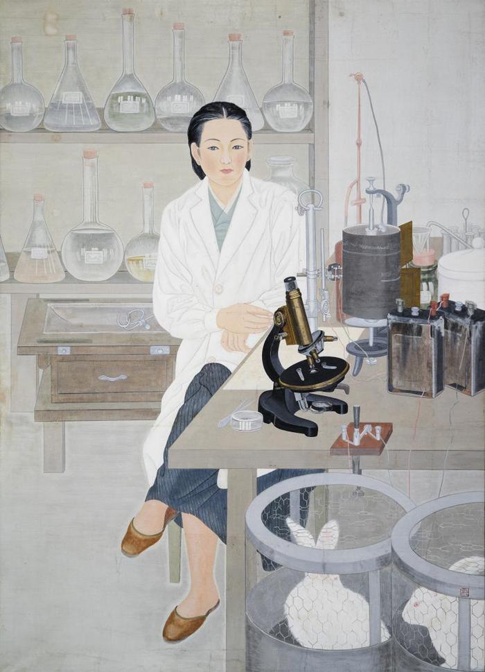 이유태의 1944년 작'인물일대(人物一對): 탐구'. 흰 가운 속에 입은 한복과 조선 여인상의 이목구비로 그려진 작품은 가부장제에서 완전히 벗어나지 못한 신여성의 딜레마를 보여준다.