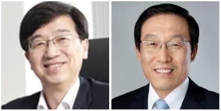 박성욱 SK하이닉스 부회장(왼쪽), 김기남 삼성전자 DS부문장. /조선DB