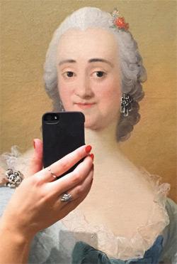 명화 속 주인공이 스마트폰을 들고 인증샷을 찍는 듯한 장면을 연출한 올리비아 무스의 작품 '뮤지움 셀피 프로젝트'.
