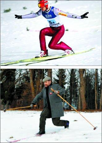 소치올림픽 스키점프 2관왕 카밀 스토흐가 텔레마크 자세로 착지하는 모습(위).