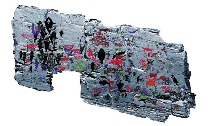 353점의 그림에 색깔을 넣어 분류한 반구대암각화의 실측 도면. 3차원 스캔한 암각화 벽면과 합성해 책에 실었다.