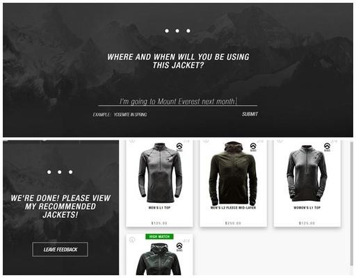 노스페이스는 '다음달에 에베레스트 산에 간다'는 고객의 상황에 맞춰 최적화된 제품을 제안했다./사진=노스페이스 챗봇 사용화면 캡처