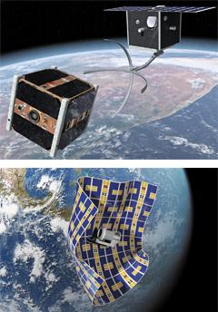 우주 쓰레기 제거 기술 - 지구 주위를 떠도는 우주쓰레기들을 없애는 다양한 청소기술이 등장하고 있다. 스위스 로잔 연방공대가 개발한 로봇팔.(위) 미 항공우주국(NASA)이 개발 중인 보자기 형태 위성.