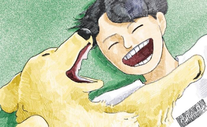 실제 작가가 키우는 골든리트리버 종(種) 강아지를 모델로 한 웹툰 '작은 집에 사는 커다란 개'