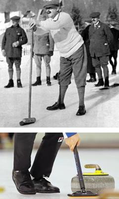 컬링 초창기인 19세기 후반으로 추정되는 사진(위). 신사 차림 선수들이 구두를 신고 있다. 한국 오은수(아래쪽)도 구두 스타일 컬링화를 신었다.