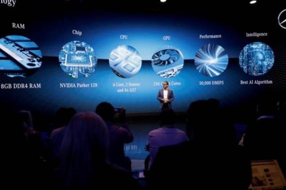 메르세데스-벤츠의 디지털 자동차 및 모빌리티 담당 부사장인 사야드 칸(Sajjad Khan)이 MBUX에 대해 설명하고 있다. / 엔비디아 제공