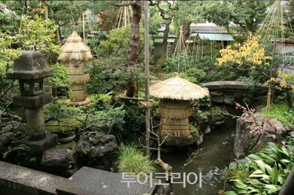 좁은 공간에 연못, 나무, 돌다리, 등롱, 정원석 등 없는 것 빼다 오밀조밀 모두 갖춘 노무라 가옥(부케야시키아토 노무라케)의 정원.