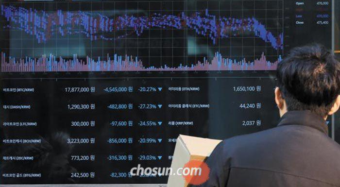 11일 오후 서울 무교동의 가상 화폐 거래소에서 한 시민이 가상 화폐 가격이 적힌 전광판을 바라보고 있다.