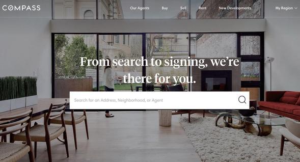 미국 부동산 중개 서비스 업체 컴퍼스의 홈페이지 초기화면/하우즈 제공