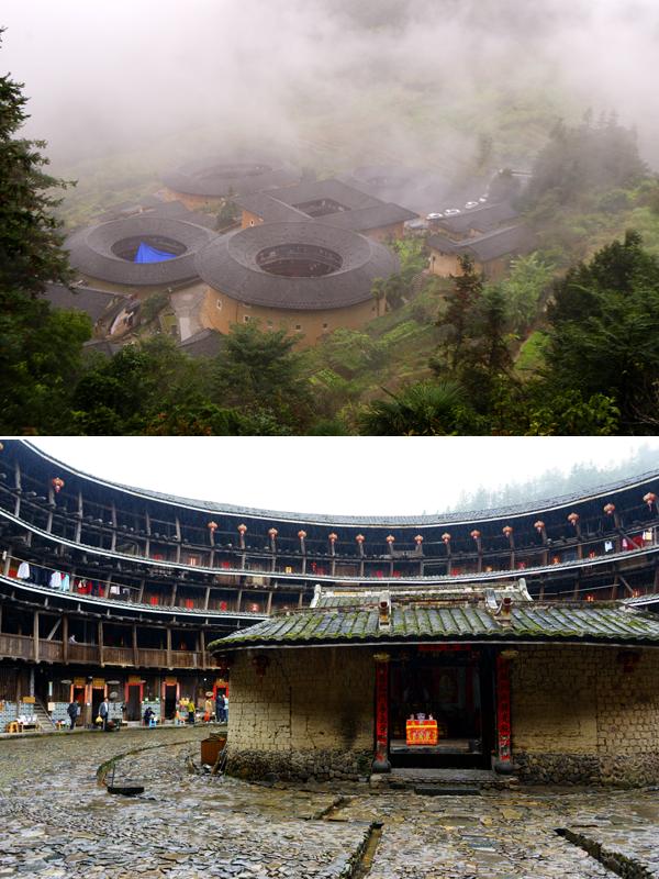 전라갱토루의 원경 사진(상), 유창루 토루의 내부 사진(하)