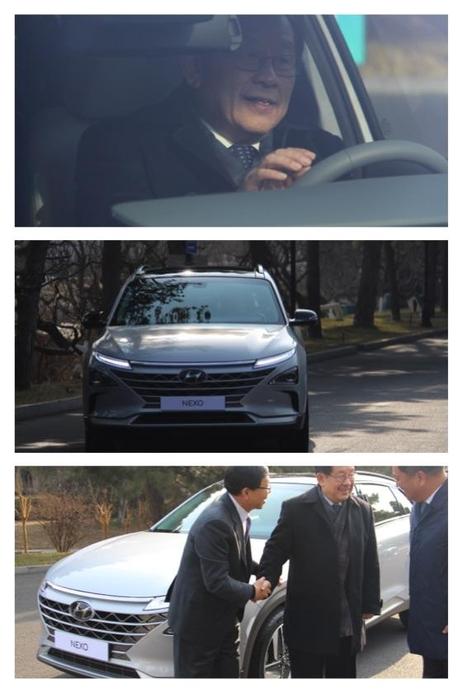 완강(가운데) 중국 과학기술부 부장이 20일 베이징에서 열린 중국 전기차 100인회 연례포럼에서 현대차 수소전기차 넥쏘를 시승한 뒤 이기창 현대차 환경기술센터장(아래 사진 맨왼쪽),왕수복 현대차그룹 중국 유한공사 총경리(오른쪽)과 얘기를 나누고 있다./베이징=오광진 특파원