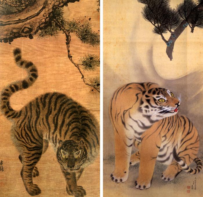 18세기 조선 김홍도의 '송하맹호도'(왼쪽)와 일본 마루야마 오쿄의 '호소생풍도'의 호랑이.