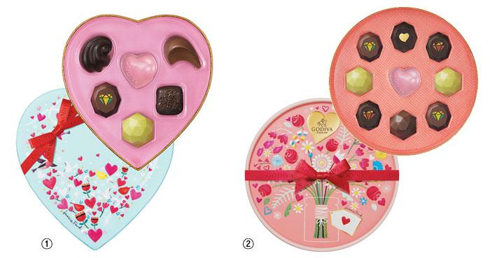 ①사랑스러운 하트 모양의 패키지에 시즌 한정 쥬얼리 초콜릿과 고디바 골드 초콜릿을 담은 '쥬얼리 하트박스'. ②2018년 밸런타인데이 시즌 한정 쥬얼리 초콜릿으로만 구성된 '쥬얼리 셀렉션'.