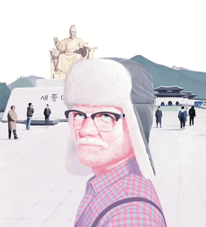 털 모자 쓰고 광화문 광장에 선 그럼프. 작가 투오마스 퀴뢰는 지난해 8월 서울과 평창 올림픽 경기장 등을 방문했다.