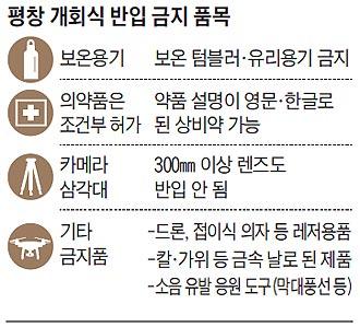 평창 개회식 반입 금지 품목