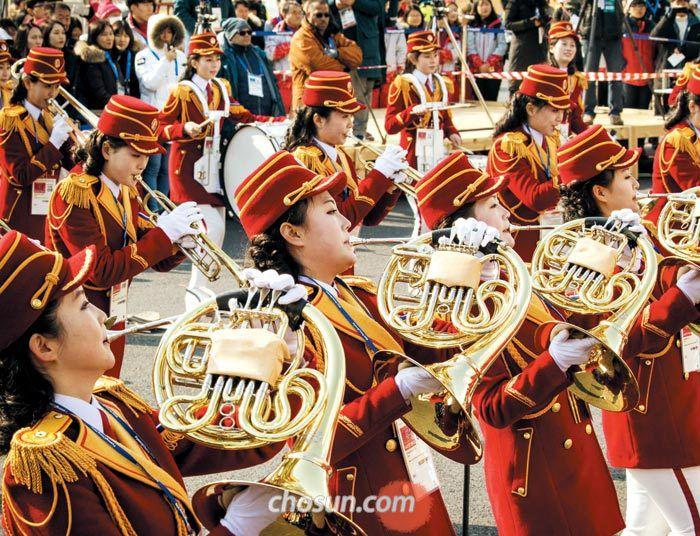북한 응원단 모습.