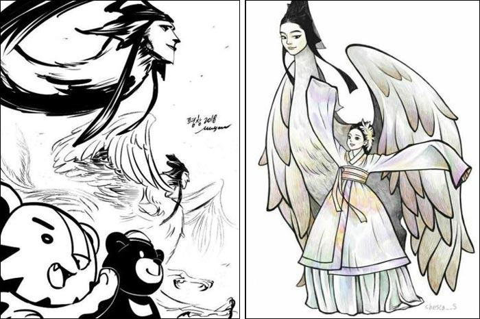 트위터·인스타그램에서 볼 수 있는 인면조 팬아트.
