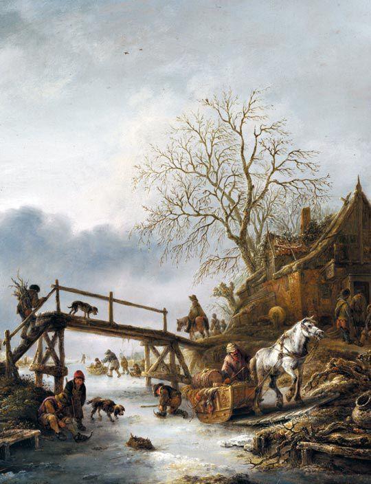 이삭 판 오스타더, 겨울 풍경, 약 1645년, 나무판에 유채, 런던 내셔널 갤러리 소장.