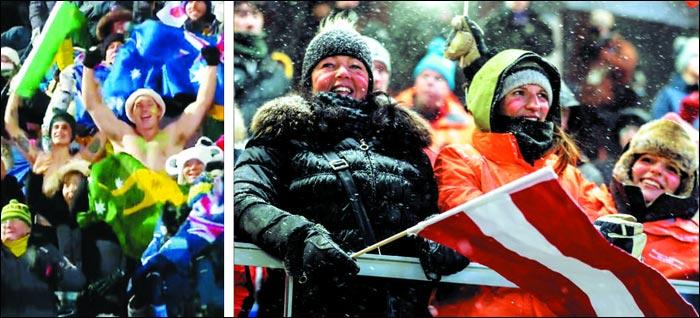 호주 팬들이 12일 매서운 칼바람이 부는 평창 휘닉스 스노 경기장에서 웃통을 벗은 채 모굴 스키에 출전한 자국 선수를 향해 열띤 응원전을 펼쳤다(왼쪽).