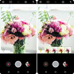 2018년형 'LG V30' 스마트폰의 카메라로 꽃을 비추자(왼쪽), 인공지능이 꽃을 인식해 자동으로 최적화된 촬영 모드를 추천한 모습(오른쪽).