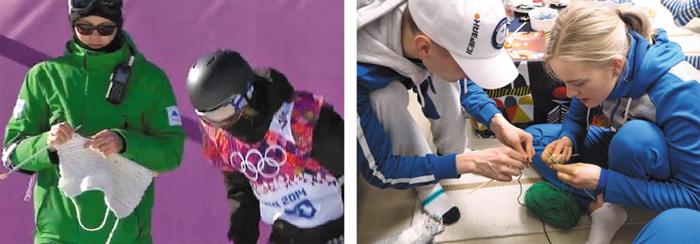 소치부터 평창까지… 뜨개질 사랑 - 2014년 소치올림픽 당시 핀란드 남자 스노보드 대표팀 코치 안티 코스키넨이 선수 출발 지점에서 뜨개질하는 장면(왼쪽). 핀란드 선수들은 평창 선수촌에서도 틈날 때마다 뜨개질에 열중한다(오른쪽).