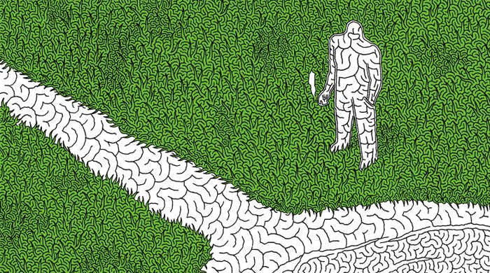 박민효 작가가 그린 미로찾기 그림 '내 마음의 연못'. 연못에서 출발해 사람을 거쳐 풀밭으로 빠져나가는 험난한 길이 펼쳐진다.