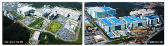 (왼쪽부터) LG디스플레이 파주 P10 공장, 삼성디스플레이 아산 공장 전경. /각사 제공