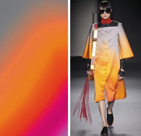 디지털 기술로 화폭을 채운 크리스타 김의 작품(왼쪽)과 그에게서 영감을 받은 랑방의 2018 가을·겨울 패션쇼 의상.