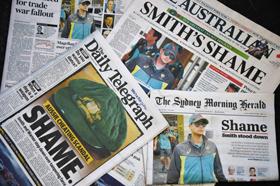 자국 크리켓 국가대표팀의 부정행위를 일제히 '수치(shame)'로 표현한 호주 일간지 1면들.