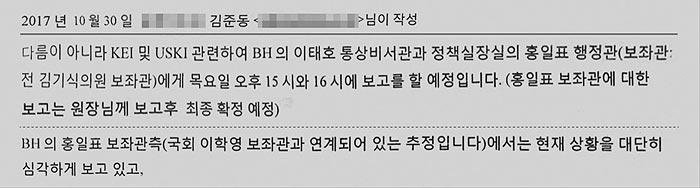 '한미硏 소장 교체에 청와대 개입' 이메일 나왔다