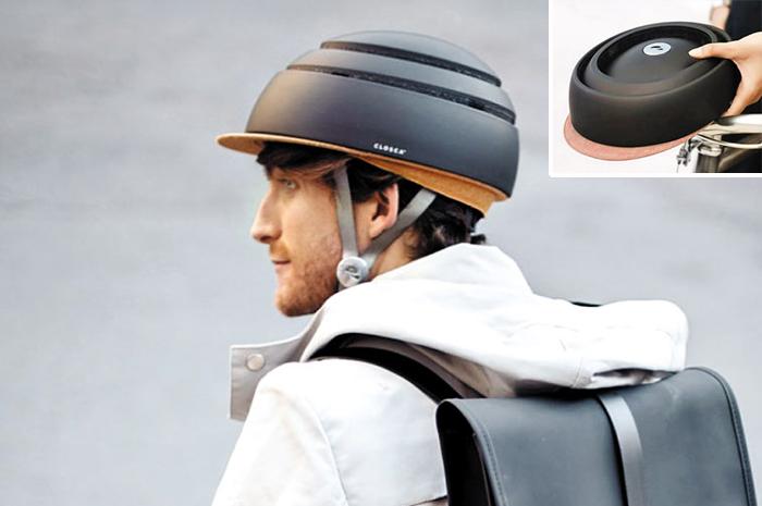 접을 수 있어 휴대하기 편한 '접이식 헬멧'이 자전거 타는 이들 사이에서 인기다. 위에서 누르듯이 접으면 가방에 넣을만큼 납작한 모양(오른쪽 위)이 된다.