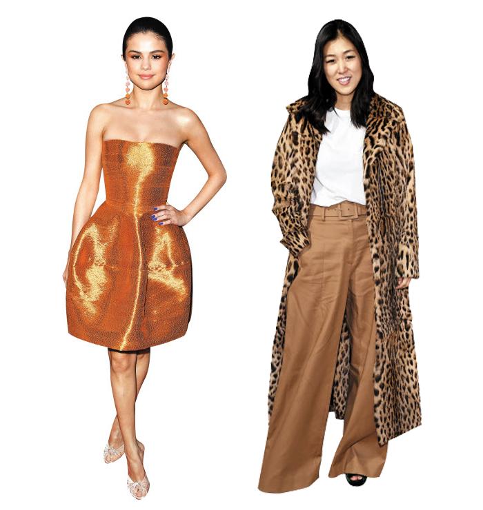 미국을 대표하는 브랜드 '오스카 드 라 렌타'의 총괄디자이너 로라 김(오른쪽). 그녀가 디자인한 드레스를 입은 배우 겸 가수 설리나 고메즈.