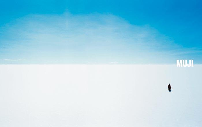 MUJI의 기업 포스터'지평선'(Horizon), 아트 디렉터: 하라 겐야, 2003년.