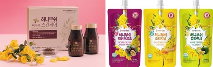 휴온스는 최근 3종(種) 열대 과일 음료를 미국에 수출한 것을 계기로 세계 시장 공략에 나섰다. (왼쪽부터)허니부쉬 스킨케어, 3종 열대 과일 음료인 이너셋 허니부쉬 오리지널·패션후르츠·깔라만시.