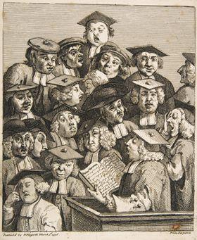 윌리엄 호가스, 강의실의 학자들, 1736년, 종이에 에칭, 22×18.6cm, 뉴욕 메트로폴리탄 박물관 소장.
