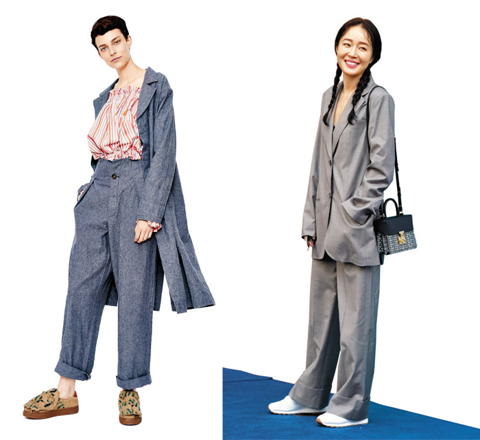 지난달 말 열린 2018헤라서울패션위크에 초대받은 배우 엄지원은 아버지 옷장에서 꺼내 입은 듯한 스타일 정장에 운동화를 신고 나타나 눈길을 끌었다(오른쪽 사진). 영국 브랜드 비비안웨스트우드 앵글로매니아의 2018봄·여름 의상을 입은 모델. 펑퍼짐한 남성복 바지와 긴 재킷에서 영감을 얻었다(왼쪽 사진).