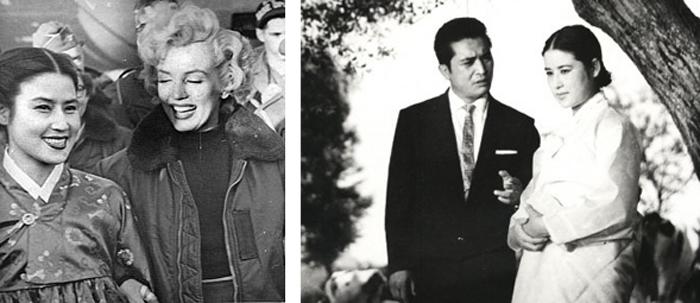 1954년 주한 미군 위문 공연을 온 미국 배우 메릴린 먼로와 함께(왼쪽 사진). 1961년 영화 '사랑방 손님과 어머니' 한 장면(오른쪽 사진).