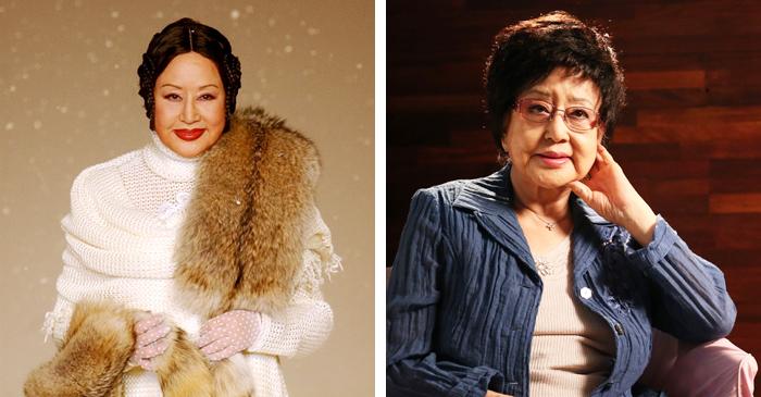 2003년 앙드레김 패션쇼 모델로 나서다(왼쪽 사진). 2013년 연기 인생 70년을 맞아 본지 인터뷰 당시(오른쪽 사진).