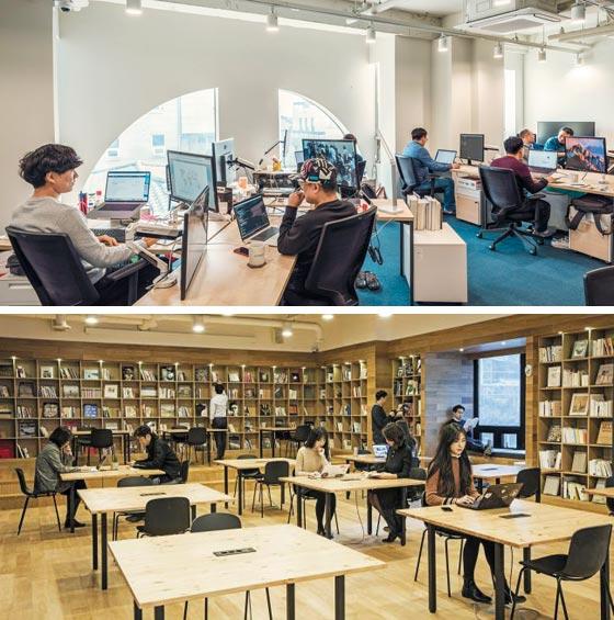 스파크플러스는 작년 8월 국내 공유 오피스로는 처음으로 5개 층 전체를 임차해 2호점을 열었다(위).