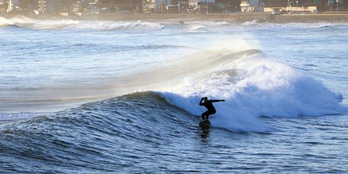 지난해 12월 강원 양양군 강현면 물치해변에서 한 서퍼가 동해의 거친 겨울 파도를 가르며 서핑을 즐기고 있다.