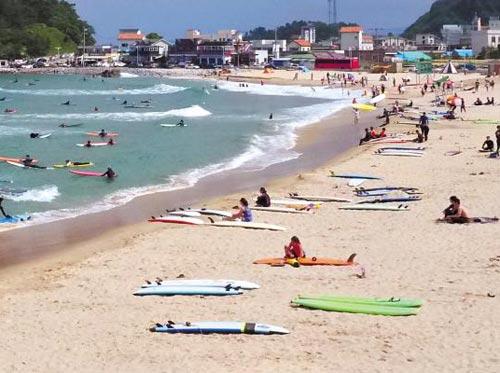'서핑 성지'로 떠오른 양양 죽도해변이 모여든 서핑 애호가들로 붐비고 있다.
