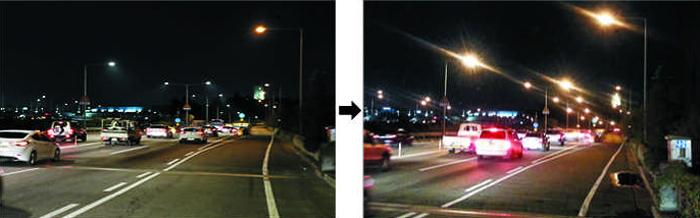 오래된 가로등을 LED 조명등으로 바꾼 강변북로 서강대교~당산철교 구간. 등을 바꾸기 전(왼쪽 사진)보다 길이 한층 밝아졌다.