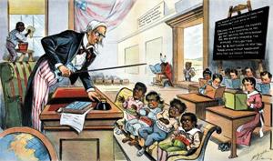 미국이 쿠바·필리핀·하와이 등 식민지에서 영어를 억지로 가르치는 장면을 비판한 풍자 만화.