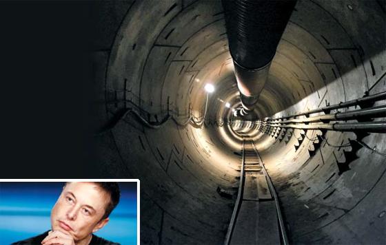 일론 머스크(작은 사진) 테슬라 최고경영자(CEO)가 11일(현지 시각) 완공이 임박했다고 밝힌 초고속 지하 터널의 내부 모습.