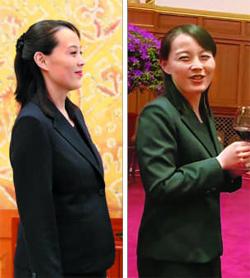 김여정 북한 노동당 중앙위 제1부부장이 지난 2월 평창올림픽 때 임신 8개월 상태로 방남해 청와대에서 문재인 대통령을 만났을 당시 모습(왼쪽). 출산 후 이달 8일 중국 다롄에서 열린 북·중 정상회담에 참석했을 때는 다소 여윈 얼굴이다(오른쪽).