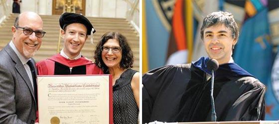 하버드를 중퇴한 페이스북 창업자 마크 저커버그(왼쪽 사진 가운데)가 지난해 명예 박사학위를 받고 모교에서 부모와 함께 사진 찍고 있다.