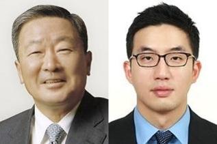 왼쪽부터 구본무 LG그룹 회장과 구광모 LG전자 상무./조선DB